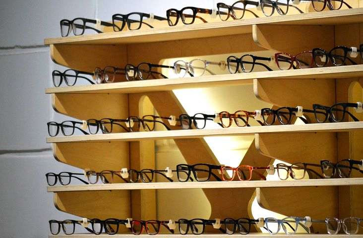 glasses for sale online organized in a shelf