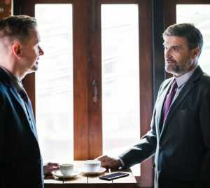 Criminal lawyer in Liverpool meeting a client