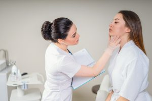 Woman about to undertake a dermatology clinical trial