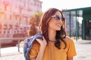 Beautiful woman wearing Garrett Leight sunglasses