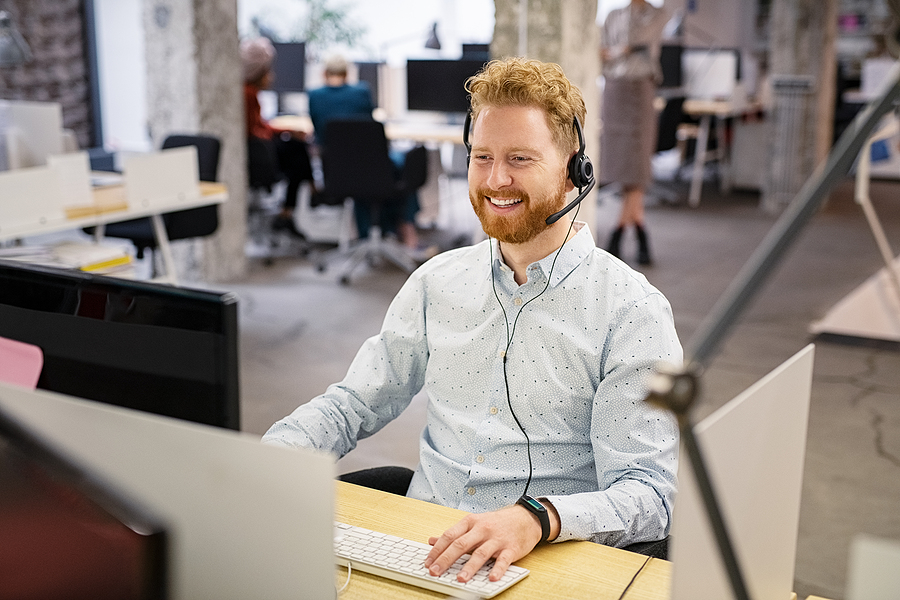 Male worker providing IT managed services