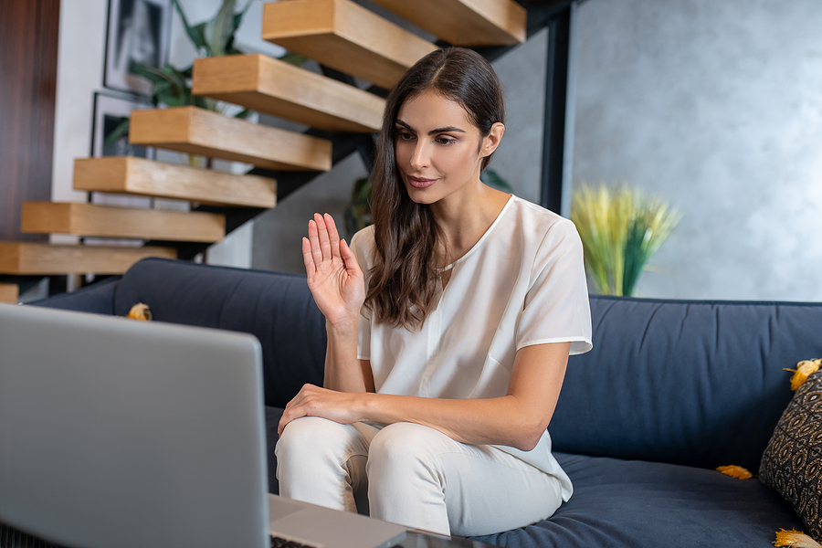 Woman getting online healing services